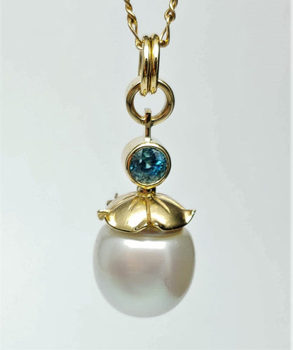 South Sea Pearl, Zircon and 14ky Pendant created by Lori Braun