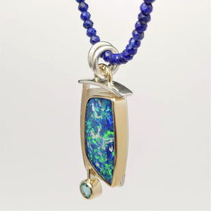 Boulder Opal Doublet Apatite Sterling 14ky Pendant created by Lori Braun