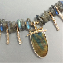 Spectrolite labradorite Sterling necklace by Judy Knose and Lori Braun. It is available at BNOX jewelry Studio in Pepin Wisconsin.