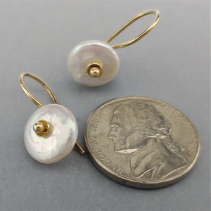 Cultured Coin Pearl 14ky Earrings by Lori Braun