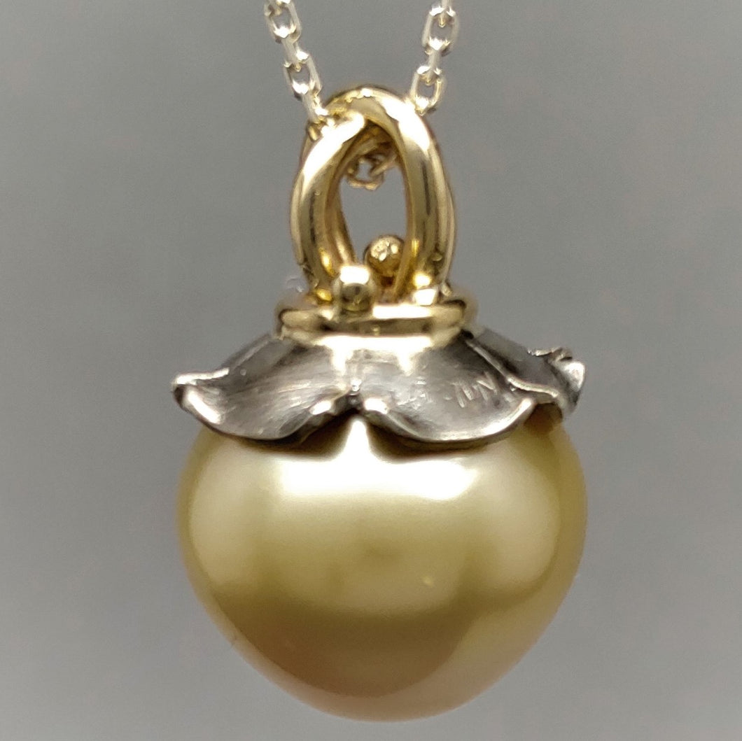 South Sea Golden Pearl Sterling 14ky Pendant by Lori Braun