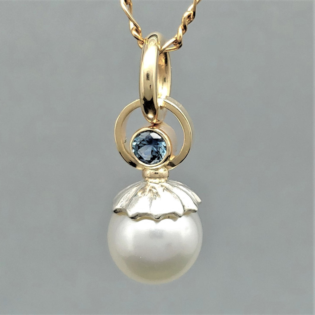 South Sea Pearl Montana Sapphire Sterling 14ky Pendant by Lori Braun