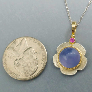 Blue Chalcedony Pink Sapphire Sterling 14KY pendant by Lori Braun of Minnesota and is available at BNOX Jewelry Studio in Pepin, Wisconsin.