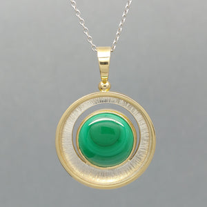 Malachite Sterling & 14KY Pendant by Lori Braun (Check for Availability)