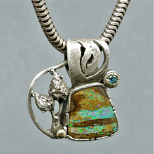 SOLD ~Northern Lights of Fall Boulder Opal Topaz Sterling 14KY