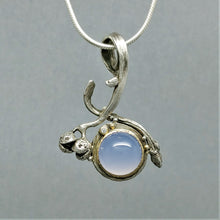 SOLD Indigo Blue Moon ~ Blue Chalcedony diamond Sterling 14KY Two Sided Pendant
