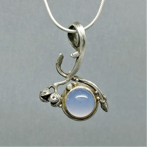 Indigo Blue Moon ~ Blue Chalcedony diamond Sterling 14KY Two Sided Pendant