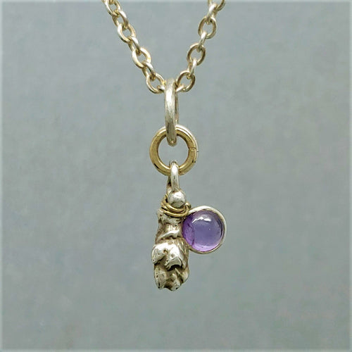 SOLD Amethyst Dew Drop Sterling 14KY Pendant