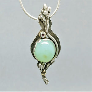 SOLD Peruvian Opal Ruby Sterling 14KY Pendant