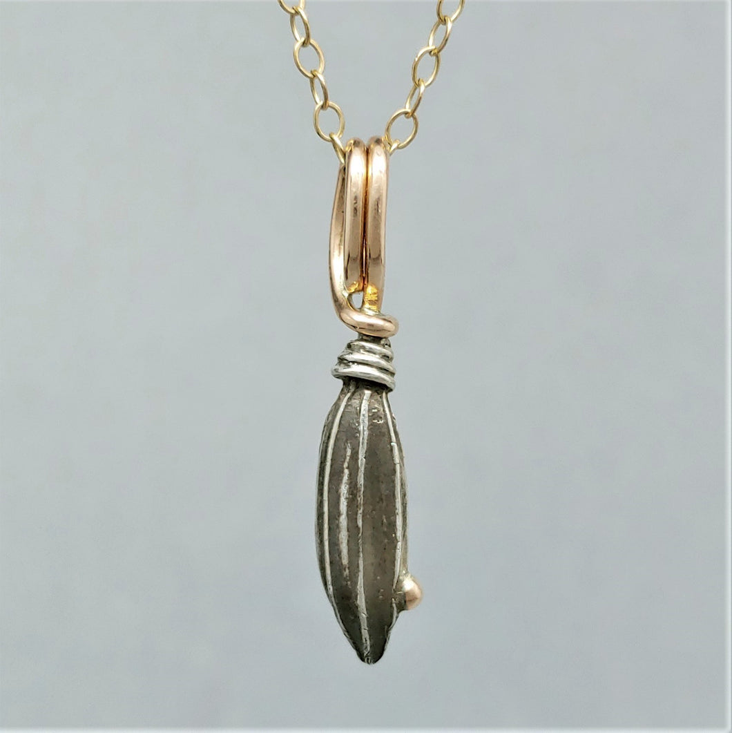 SOLD Carolina Seed Pod Sterling 14K Rose Gold Pendant