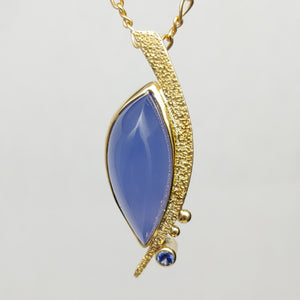 Blue Chalcedony 14ky Sterling Sapphire pendant by Lori Braun