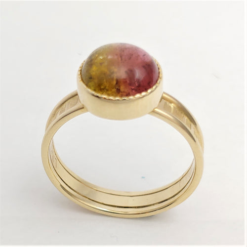 Bi-Color Tourmaline 14ky ring by Lori Braun
