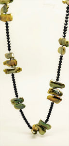 Golden Freshwater Pearl black Spinel Necklace by Judy Knose