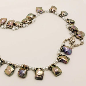 Silver Diamond Shaped Cultured Pearl White Freshwater Pearl Sterling Necklace by Judy Knose