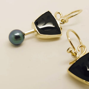 Black Onyx Black Cultured Pearl 14KY earrings by Lori Braun