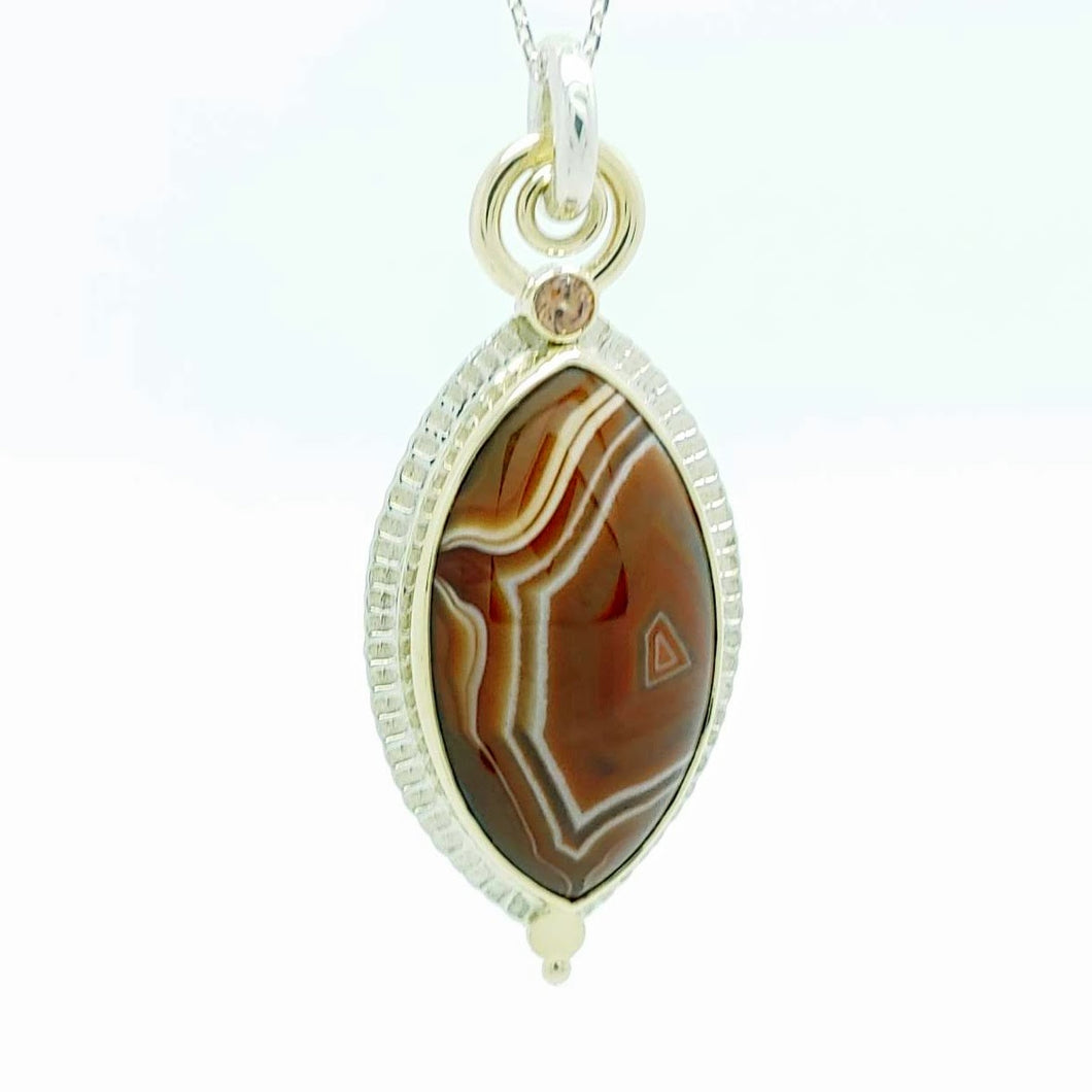 Lake Superior Agate, Honey Zircon, Sterling & 14KY pendant by Lori Braun