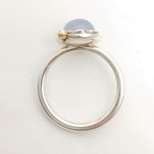 Blue Chalcedony Sterling 14ky Ring by Lori Braun