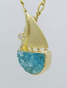 Chrysocolla Druse  Diamond 14KY Pendant by Murphy Design