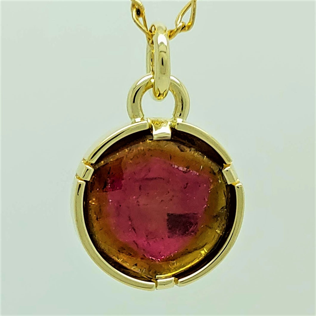 Watermelon Tourmoline 14ky Pendant by Lori Braun  SOLD