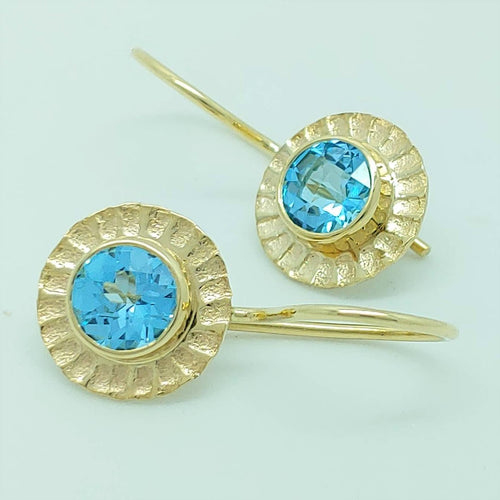 Blue Topaz 14ky Earrings by Lori Braun