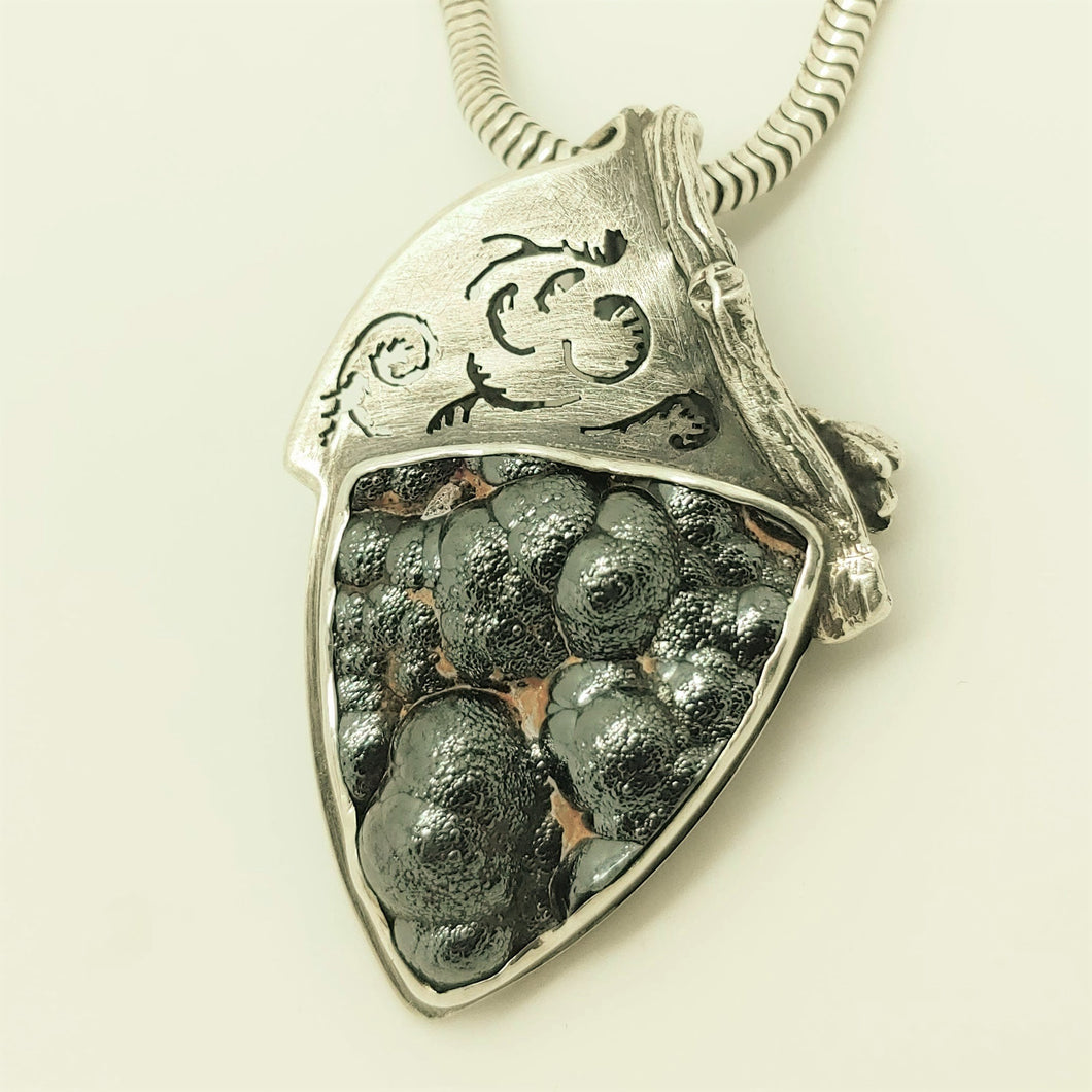 SOLD.  Botryoidal Hematite Sterling Pendant by Rebecca of BNOX