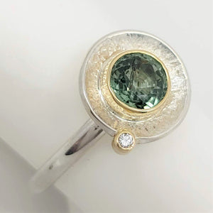 Green Sapphire diamond starling 14ky Ring by Lori Braun