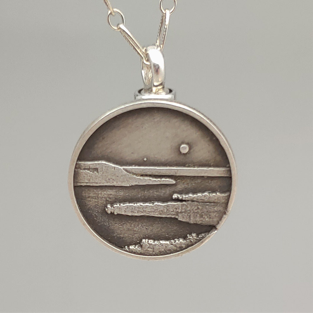 Lake Pepin Pendant Sterling Cremation Jewelry Engravable by Murphy Design