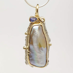 Fresh Water Pearl Tanzanite 14ky Sterling Pendant by Lori Braun