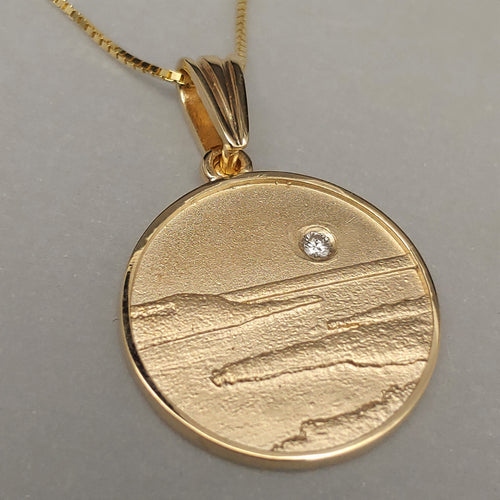 14KY Lake Pepin Pendant with a Diamond Moon by Murphy Designs