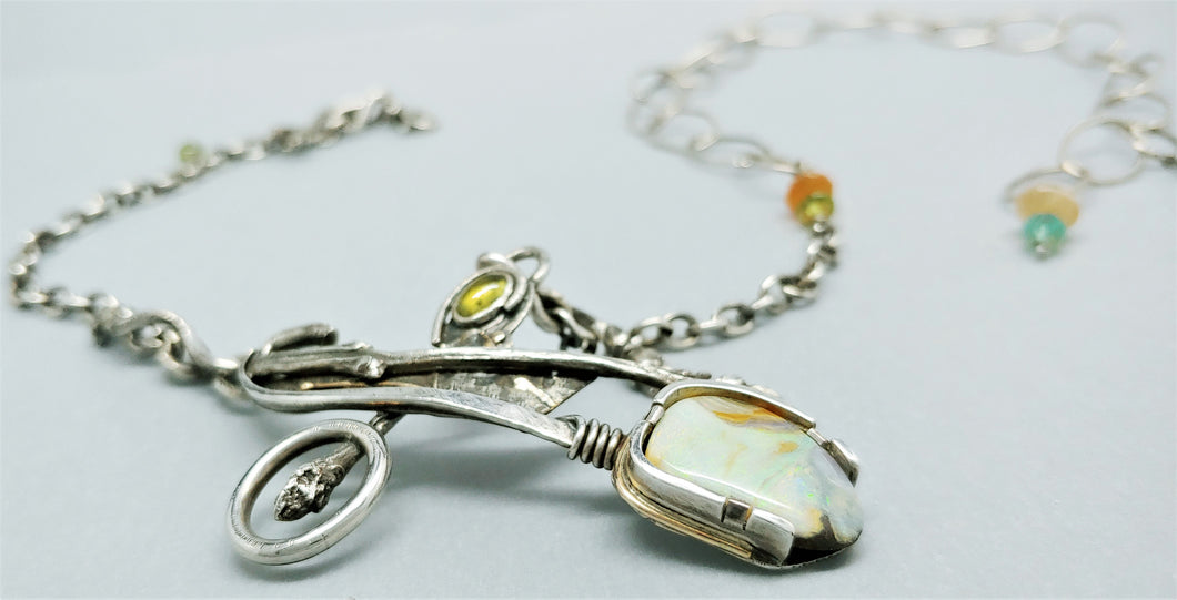 SOLD. Day Dream Australian Opal Sterling 14KY Necklace