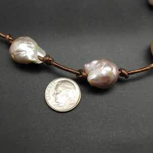 Baroque Pearl Leather Necklace by Judy Knose