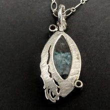 Gilalite in Quartz Aquamarine Zircon sterling 14KY Pendant by Rebecca BNOX