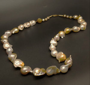 "Creamy Gold Champagne Pearl 14KY Clasp 20"" Necklace by Judy Knose"