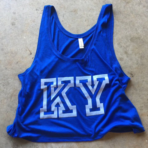 KY Pride Flowy Cropped Tank - Royal Blue