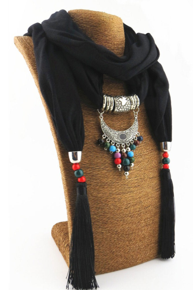 Retro Beaded Tassel Scarf