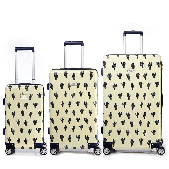 [Lucky Planet] Cactus Pattern Print Hard Case Luggage Set - 21+26+30 inch
