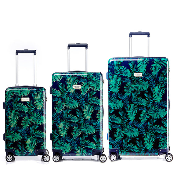 [Lucky Planet]  Leaf Pattern Print Hard Case Luggage Set - 21+26+30 inch