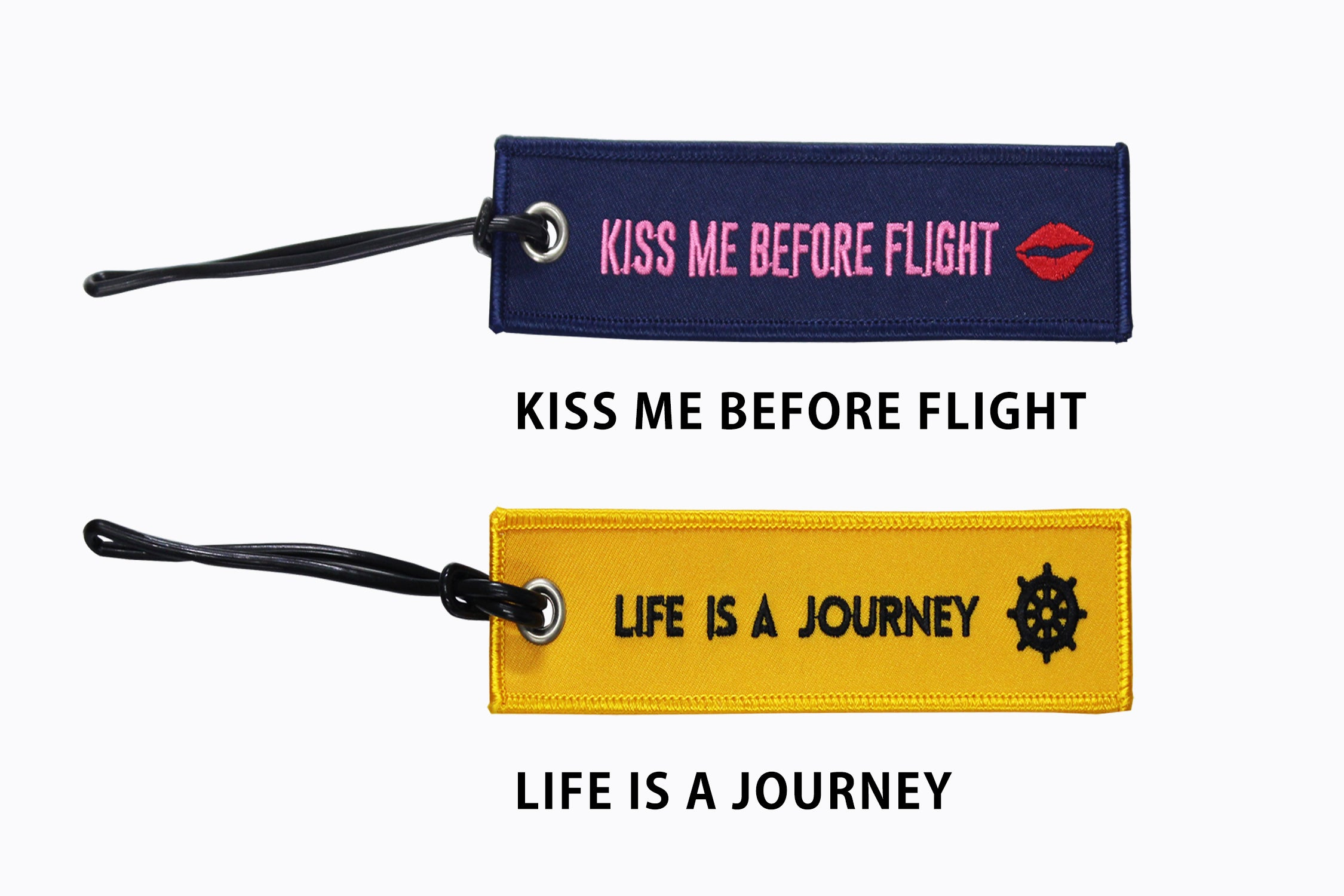 [Lucky Planet] Embroidered  Luggage Name Tags - Kiss Me Before Flight