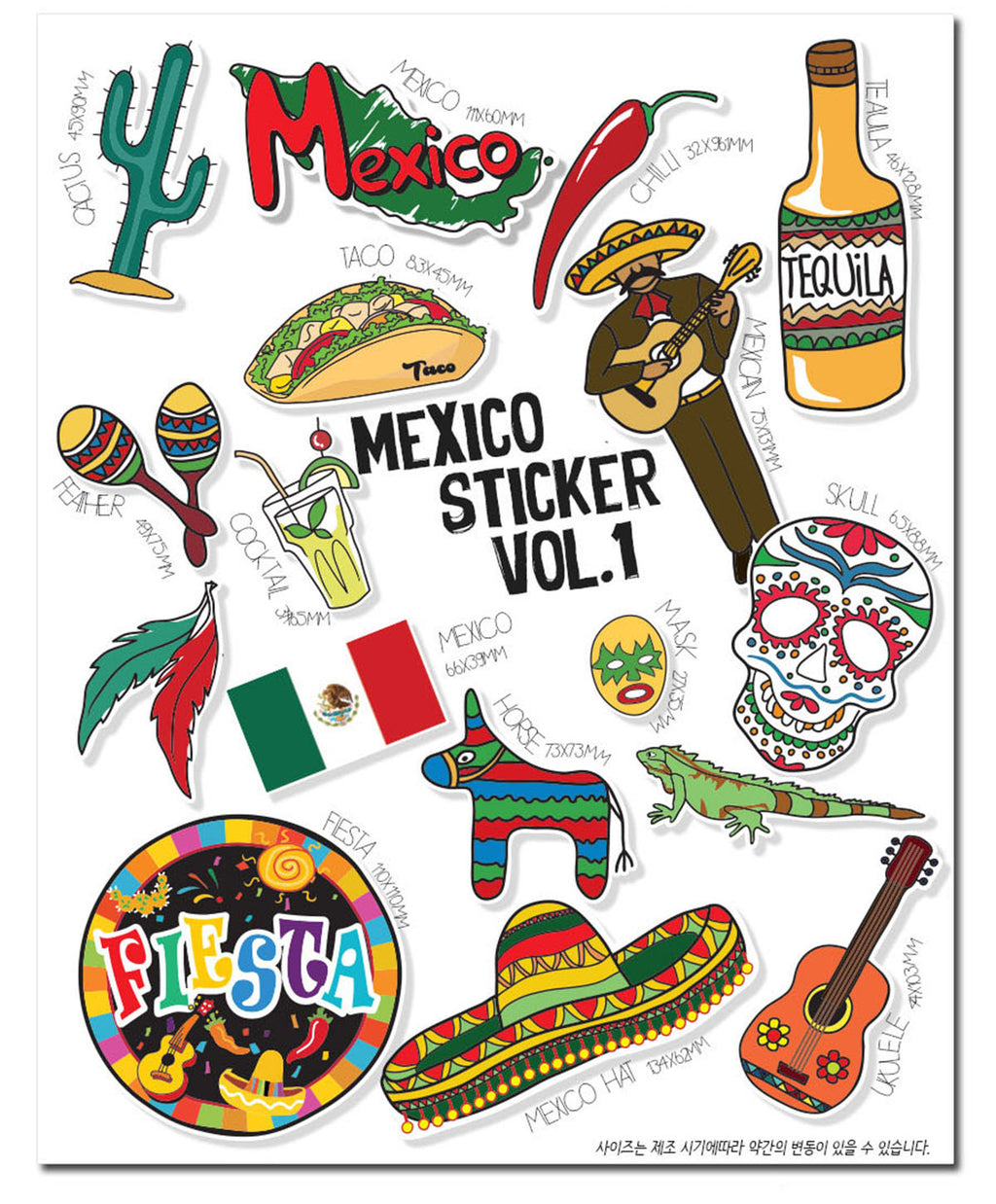[Lucky Planet] Waterproof travel Luggage Reform Stickers 17PCS - Mexico