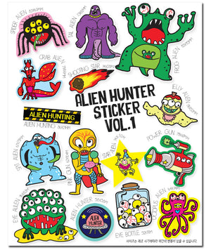 [Lucky Planet] Removable Luggage Reform Stickers - Alien Hunter