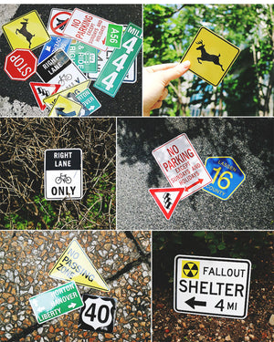 [Lucky Planet] Waterproof/ UV protect Luggage rimowa trip Stickers 16PCS - Road sign