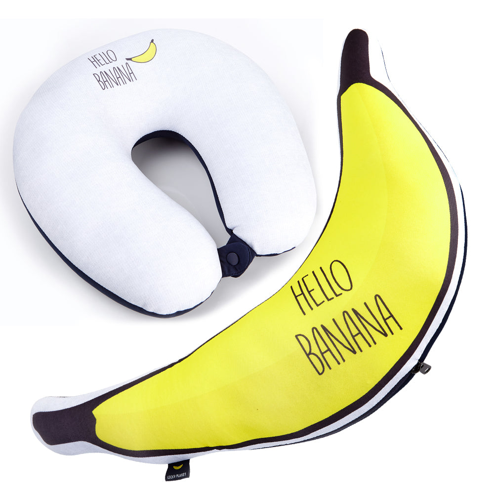 LUCKY PLANET 2 in 1 Travel Neck Pillow Cushion -BANANA Transform to Neck Cushion/Luggage Holding