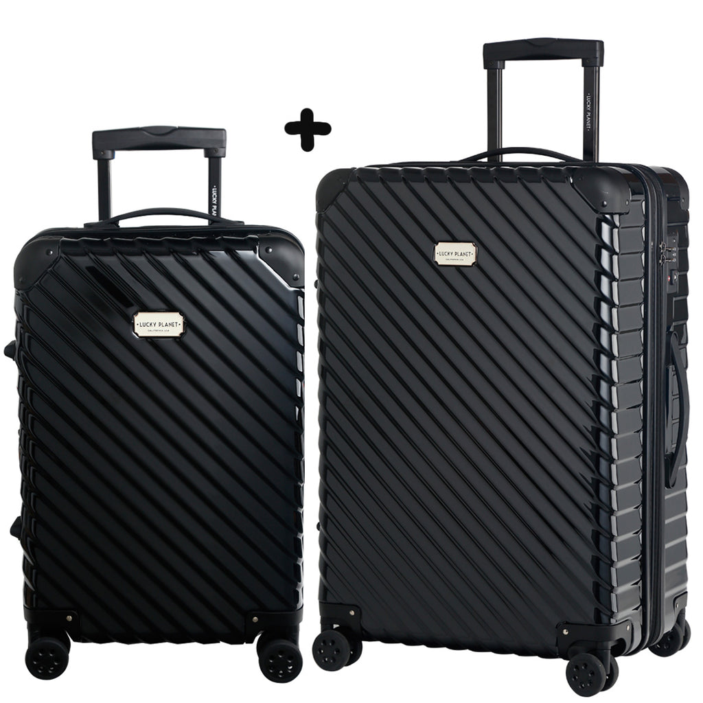 "Luxury travel luggage 21""+ 26"" 2PCS set -4 Double wheels/TSA LOCK/Ultra light /Expandable- BLACK"