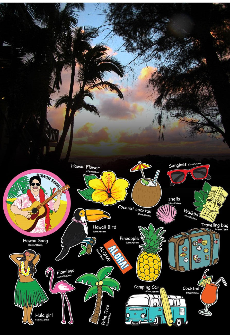 [LUCKY PLANET]premium deco/ luggage stickers set-HAWAII