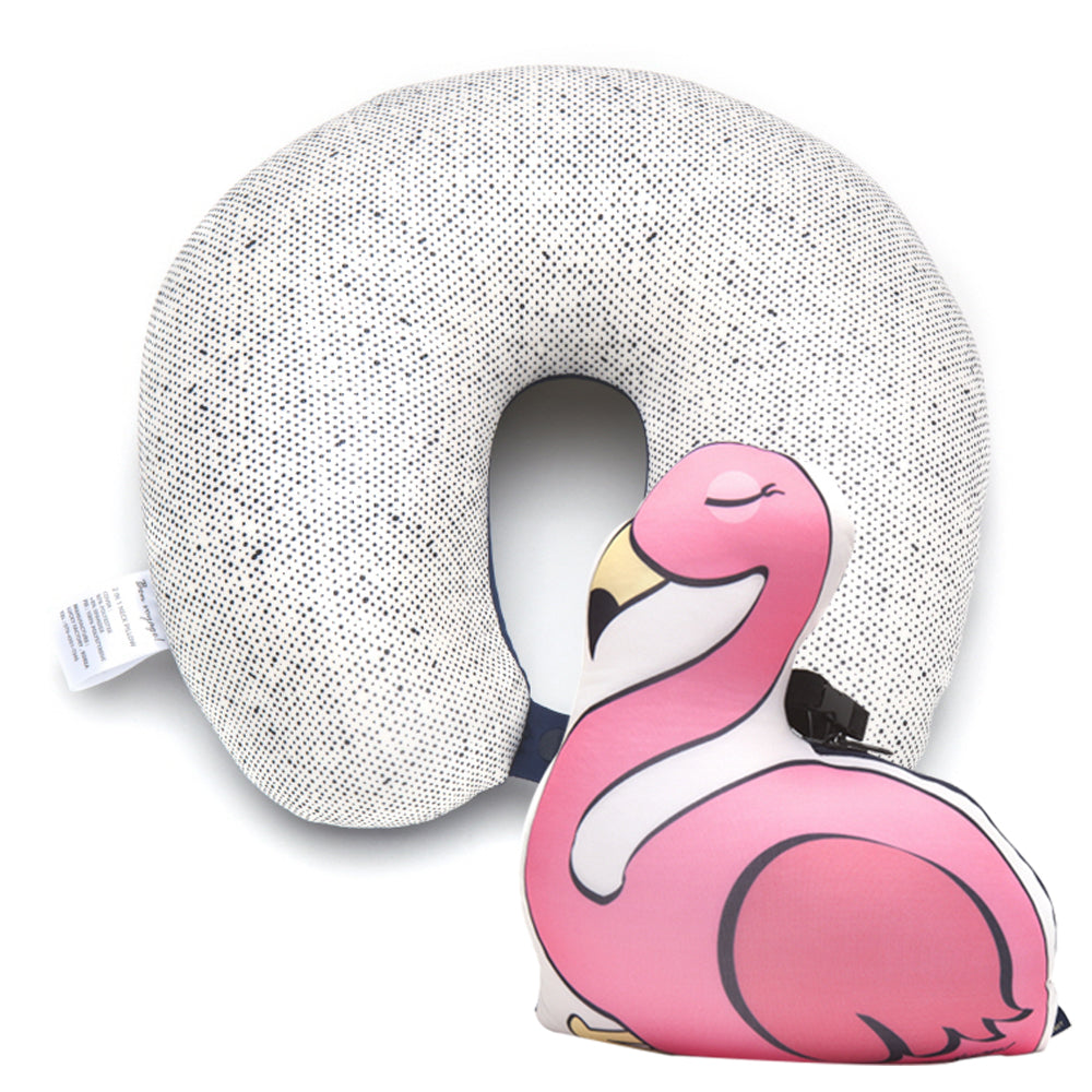 [Lucky Planet] Bon Voyage 2 in1 Travel Head Rest Neck Pillow - Flamingo