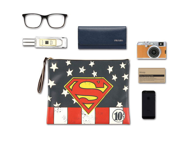Superman DC Liscenced multi Clutch / cellphone pouch / clutch with handle / daily bag /makeup pouch-water resistant