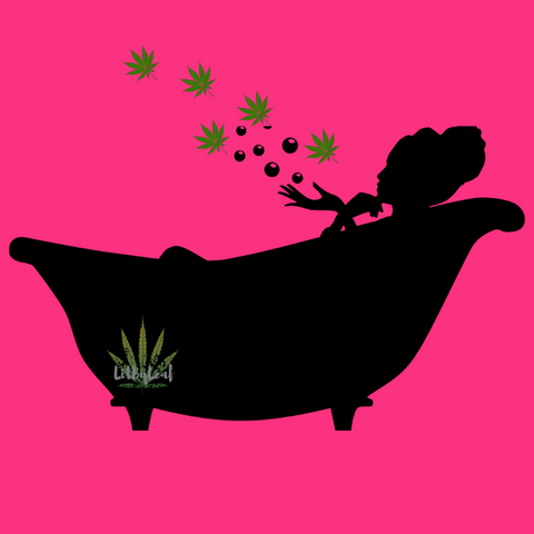 woman taking a CBD bath bomb cannabis bathing in a tub
