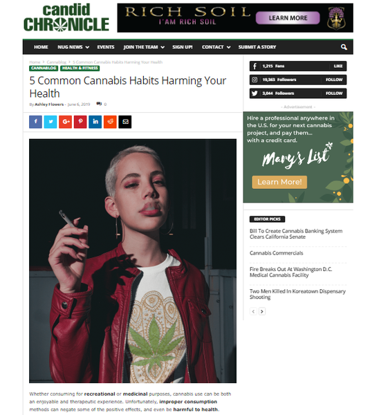 candid chronicle lit by leaf 5 Common Cannabis Habits Harming Your Health