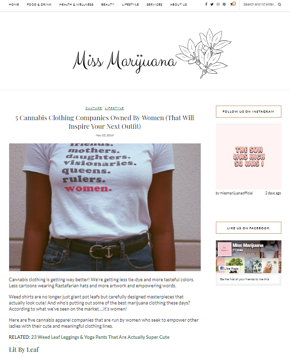 women supporting women cannabis clothing