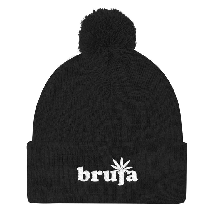Cannabis Bruja Pom Pom Embroidered Knit Beanie - Multiple Colors